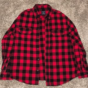 Faded Glory long sleeve button up red/black